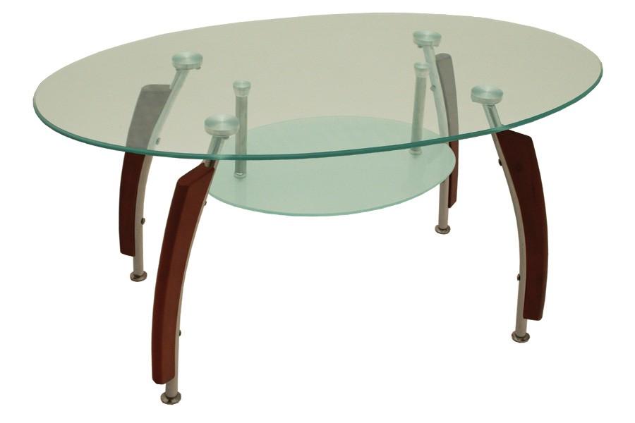 Bradop Jídelní stůl oválný, sklo + masiv GUSTAV S83