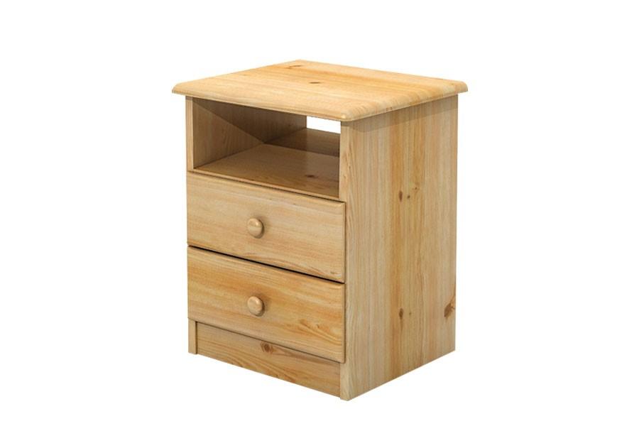 Noční stolek 2 zásuvky, masiv borovice - B033