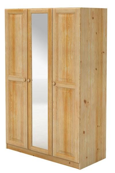 Skříň se zrcadlem, třídveřová, masiv borovice - B040