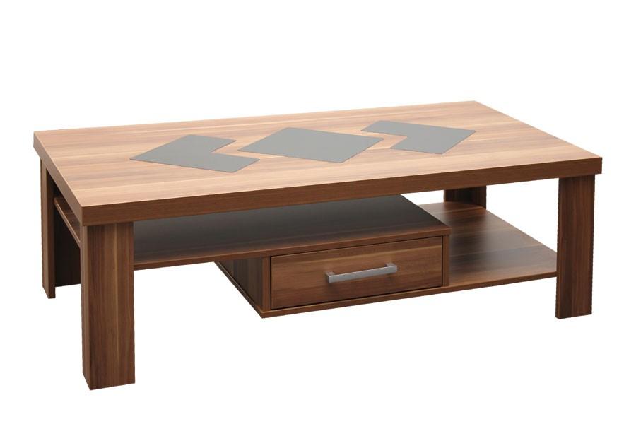 Konferenční stolek VIKTOR, obdélník, zásuvky a sklo - K110
