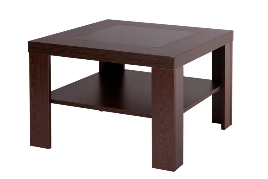 Bradop Konferenční stolek ALOIS, čtvercový, sklo a police K114