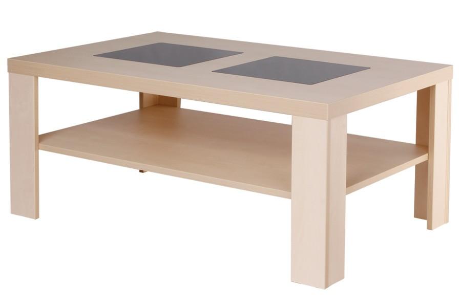 Konfenční stolek ALAN, obdélník, sklo, police - K115