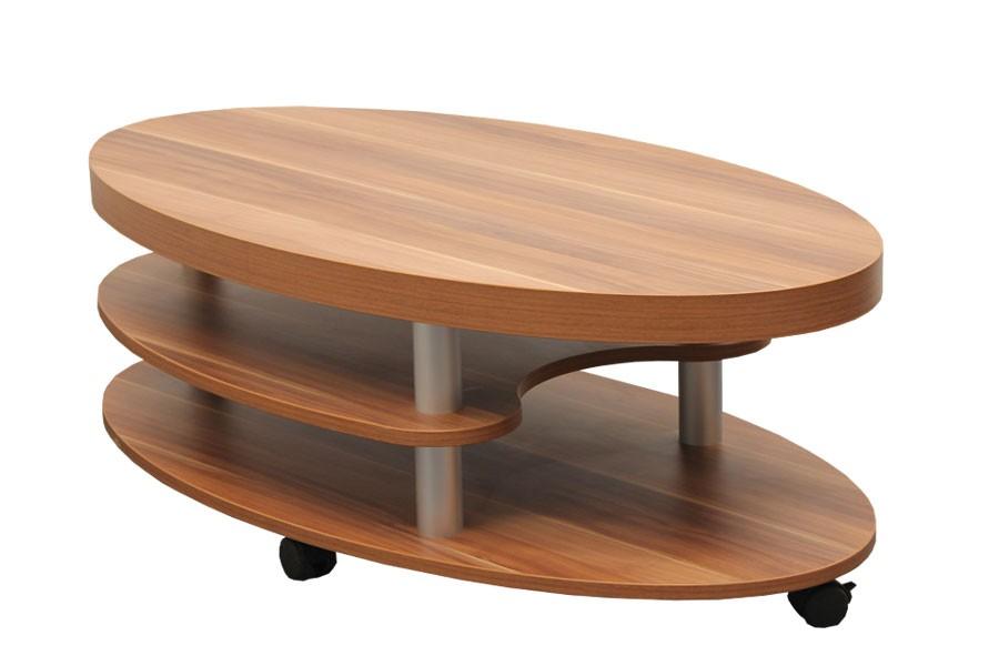 Konferenční stolek DALIBOR, oválný, police a kolečka - K123