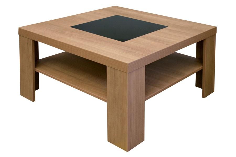 Bradop Konferenční stolek, čtvercový, sklo černé K105