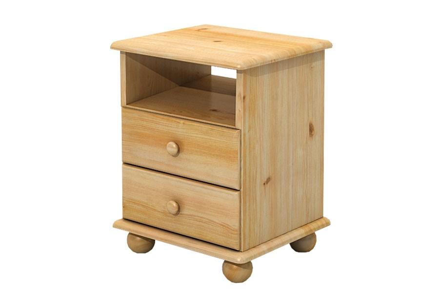 Noční stolek 2 zásuvky, masiv smrk - B833