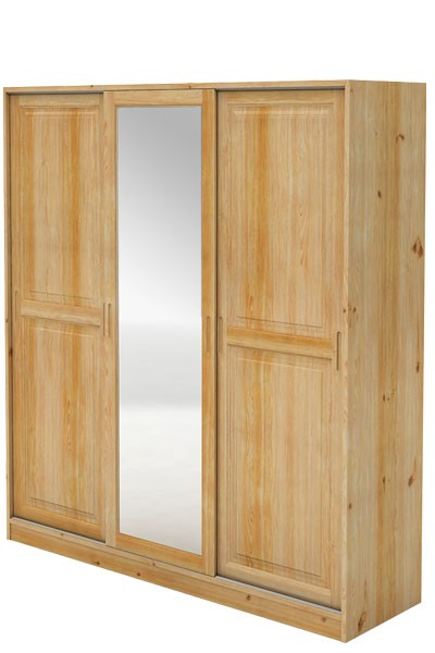 Skříň s posuvnými dveřmi, třídvéřová + zrcadlo, smrk  - B724