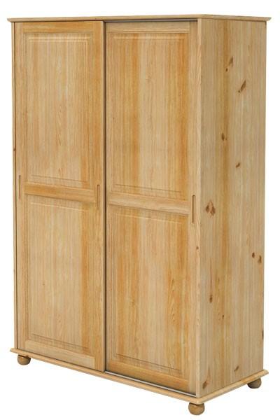 Šatní skříň dvoudveřová, zasouvací dveře, masiv smrk - B827