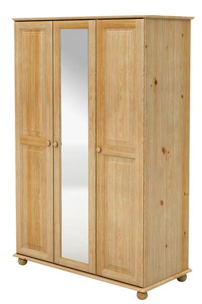 Šatní skříň se zrcadlem, třídveřová, masiv smrk - B840