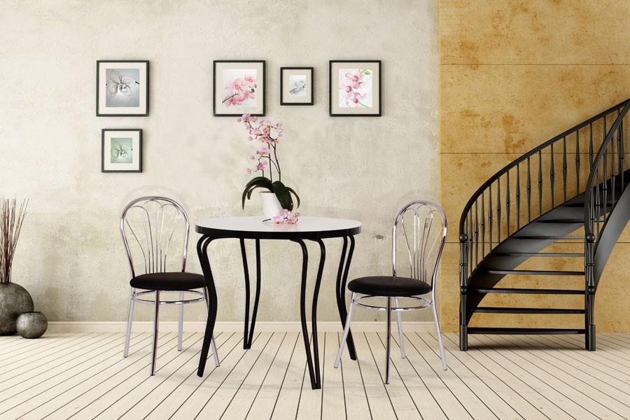 Jídelní stůl OLEG, průměr 80, nohy chrom - S150