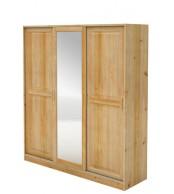 Skříň s posuvnými dveřmi, třídveřová se zrcadlem, masiv borovice - B024
