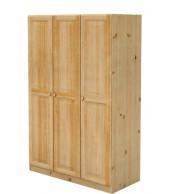 Šatní skříň, třídveřová, masiv borovice - B025