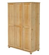 Šatní skříň trojdvéřová, masiv borovice - B225