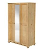 Šatní skříň trojdveřová se zrcadlem, masiv borovice - B240