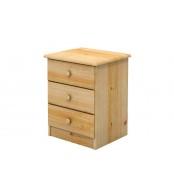 Noční stolek 3 zásuvky, masiv smrk - B702