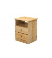 Noční stolek 2 zásuvky, masiv smrk - B733