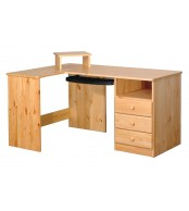 Psací stůl rohový, 3 zásuvky smrk - B741