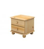 Noční stolek 2 zásuvky, masiv smrk - B801