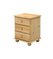 Noční stolek 3 zásuvky, masiv smrk - B802