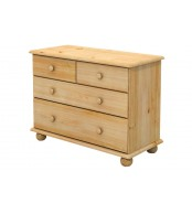 Komoda 2+2 zásuvky, masiv smrk (volba barvy dřeva) - B834
