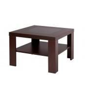 Konferenční stolek ALOIS, čtvercový, sklo a police - K114