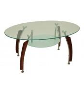 Jídelní stůl oválný, sklo + masiv GUSTAV - S83