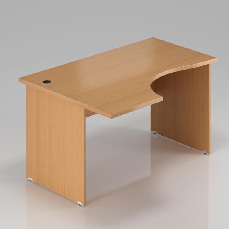 Kancelářský rohový stůl levý Komfort, dřevěná podnož, 160x70/100x76 cm - BKA21 11