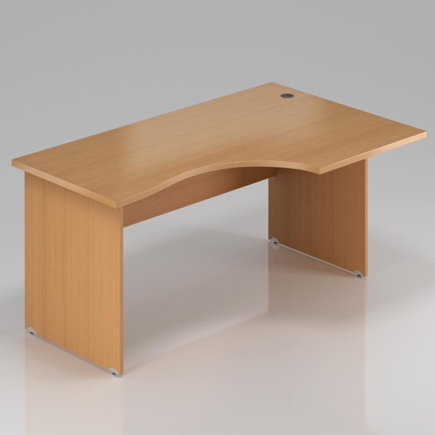 Kancelářský rohový stůl pravý Komfort, dřevěná podnož, 160x70/100x76 cm - BKA20 11