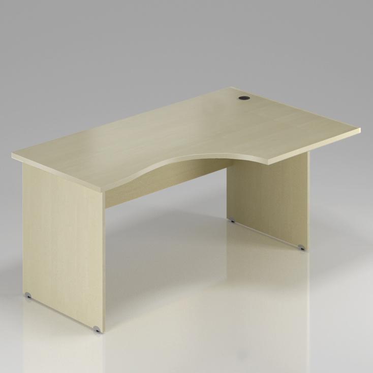 Kancelářský rohový stůl pravý Komfort, dřevěná podnož, 160x70/100x76 cm - BKA20 12