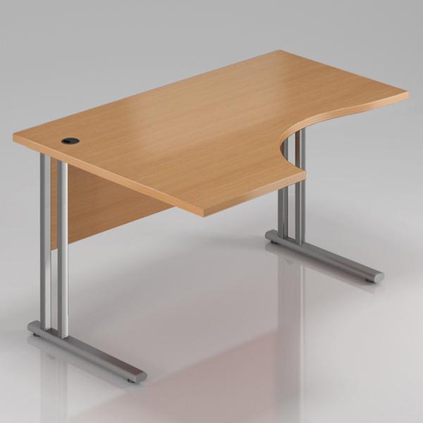 Kancelářský stůl rohový levý Komfort, kovová podnož, 160x70/100x76 cm - BPR21 11