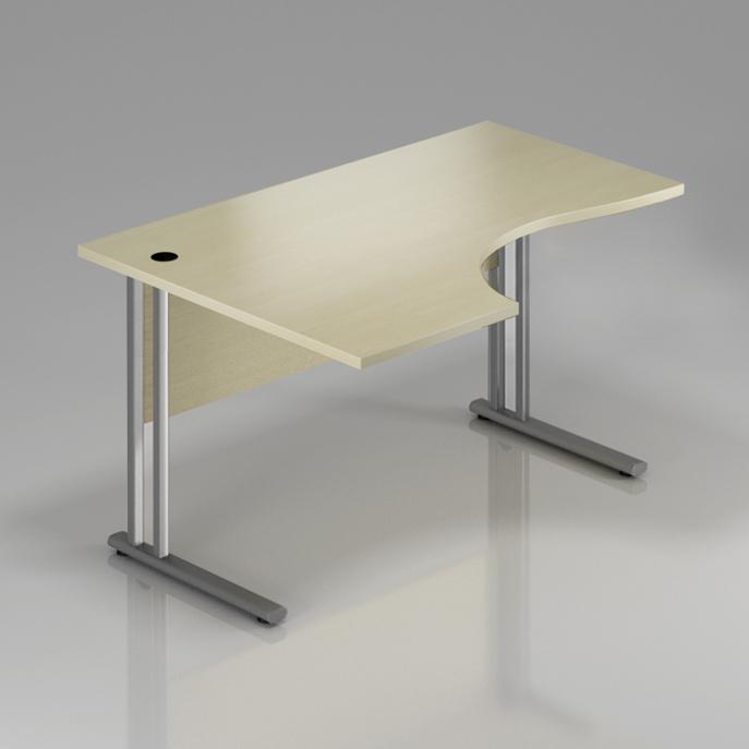 Kancelářský stůl rohový levý Komfort, kovová podnož, 160x70/100x76 cm - BPR21 12