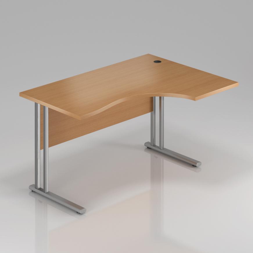 Kancelářský stůl rohový pravý Komfort, kovová podnož, 160x70/100x76 cm - BPR20 11