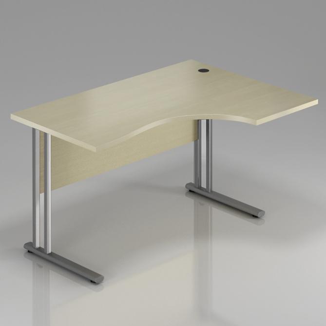 Kancelářský stůl rohový pravý Komfort, kovová podnož, 160x70/100x76 cm - BPR20 12