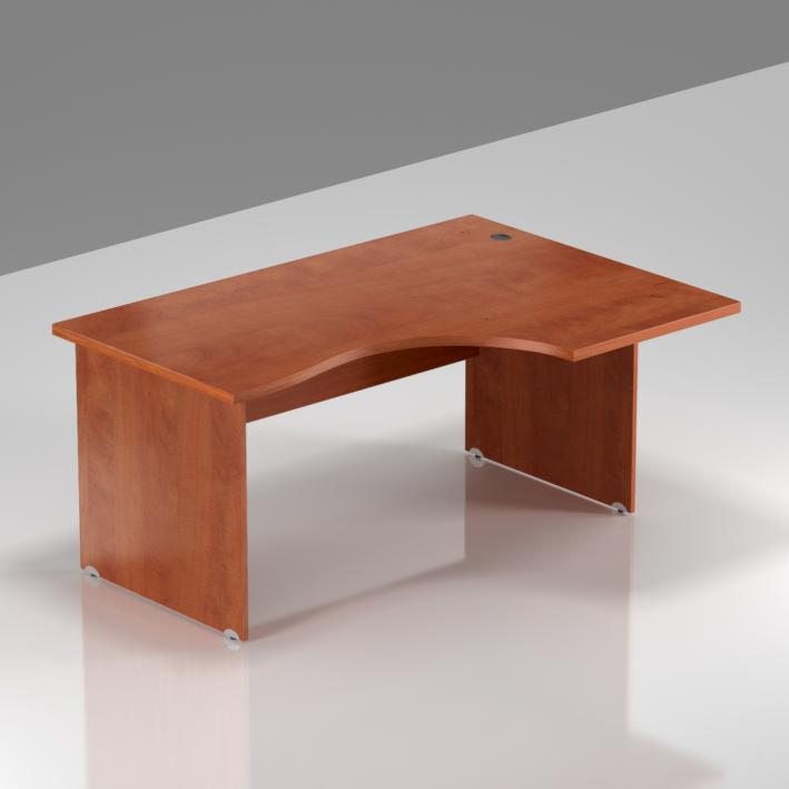 Kancelářský rohový stůl pravý Komfort, dřevěná podnož, 140x70/100x76 cm - BKA18 03