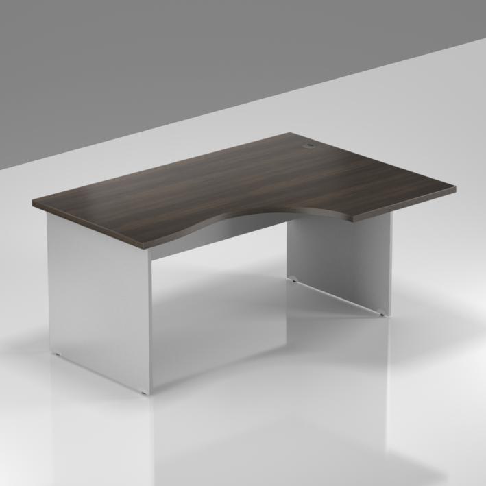 Kancelářský rohový pravý stůl Komfort, dřevěná podnož, 140x70/100x76 cm - BKA18 07