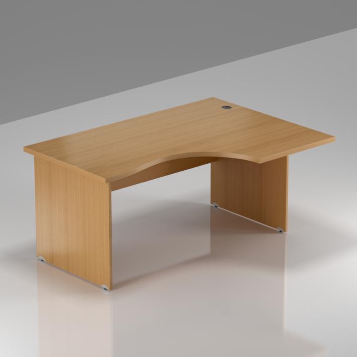 Kancelářský rohový stůl pravý Komfort, dřevěná podnož, 140x70/100x76 cm - BKA18 11