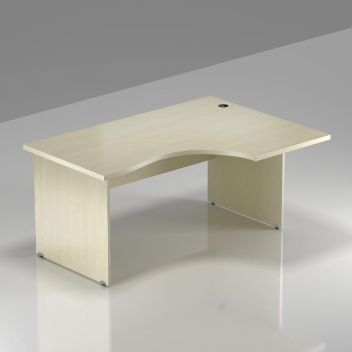 Kancelářský rohový stůl pravý Komfort, dřevěná podnož, 140x70/100x76 cm - BKA18 12