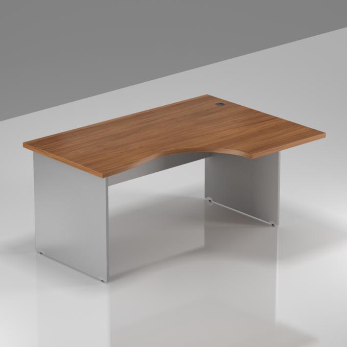 Kancelářský rohový pravý stůl Komfort, dřevěná podnož, 140x70/100x76 cm - BKA18 19