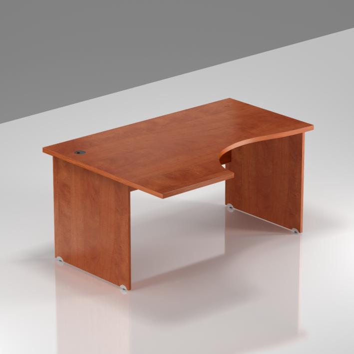 Kancelářský rohový stůl levý Komfort, dřevěná podnož, 140x70/100x76 cm - BKA19 03