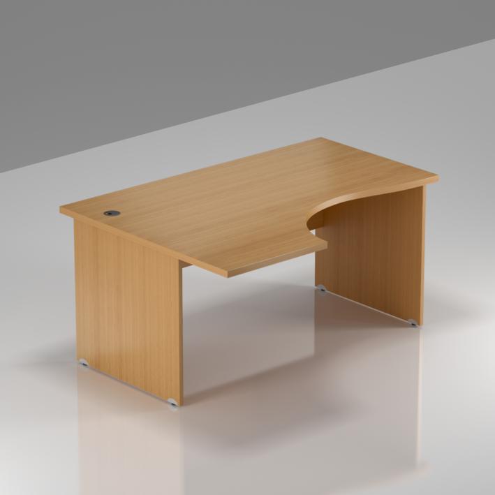 Kancelářský rohový stůl levý Komfort, dřevěná podnož, 140x70/100x76 cm - BKA19 11