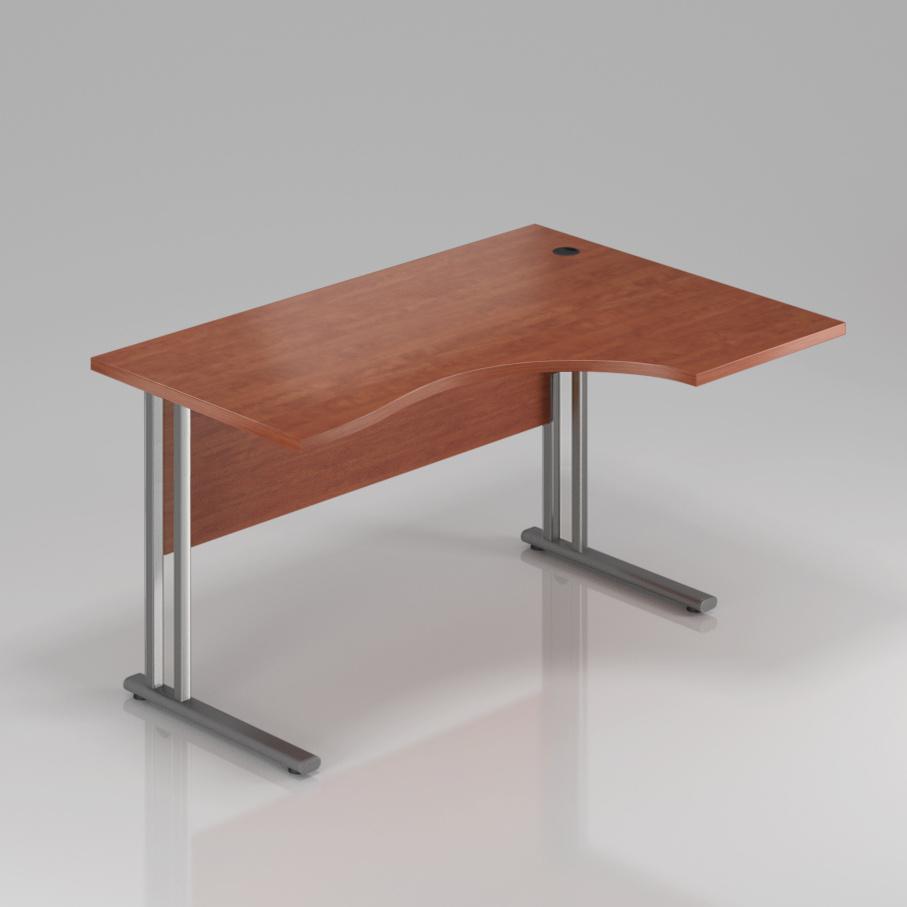 Kancelářský stůl rohový pravý Komfort, kovová podnož, 140x70/100x76 cm - BPR18 03
