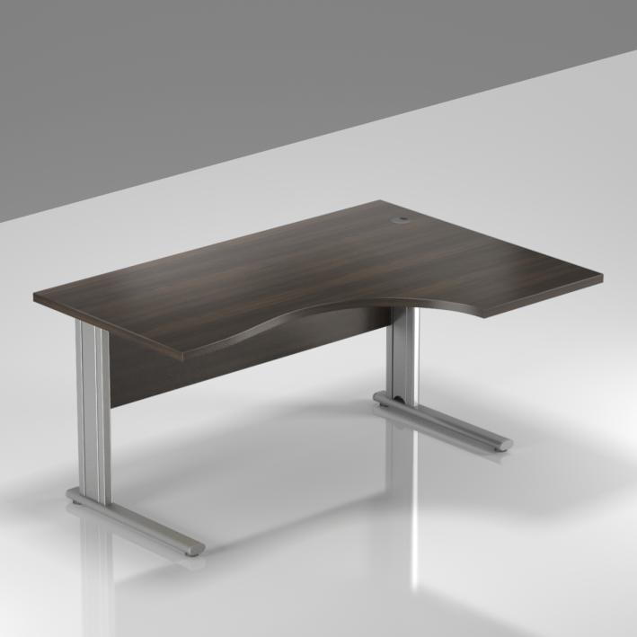 Kancelářský stůl rohový pravý Komfort, kovová podnož, 140x70/100x76 cm - BPR18 07