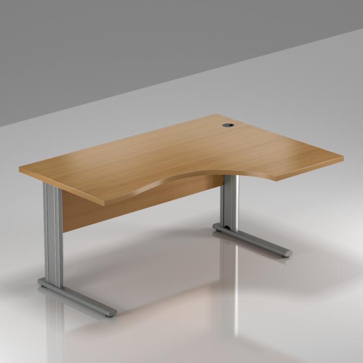 Kancelářský stůl rohový pravý Komfort, kovová podnož, 140x70/100x76 cm - BPR18 11