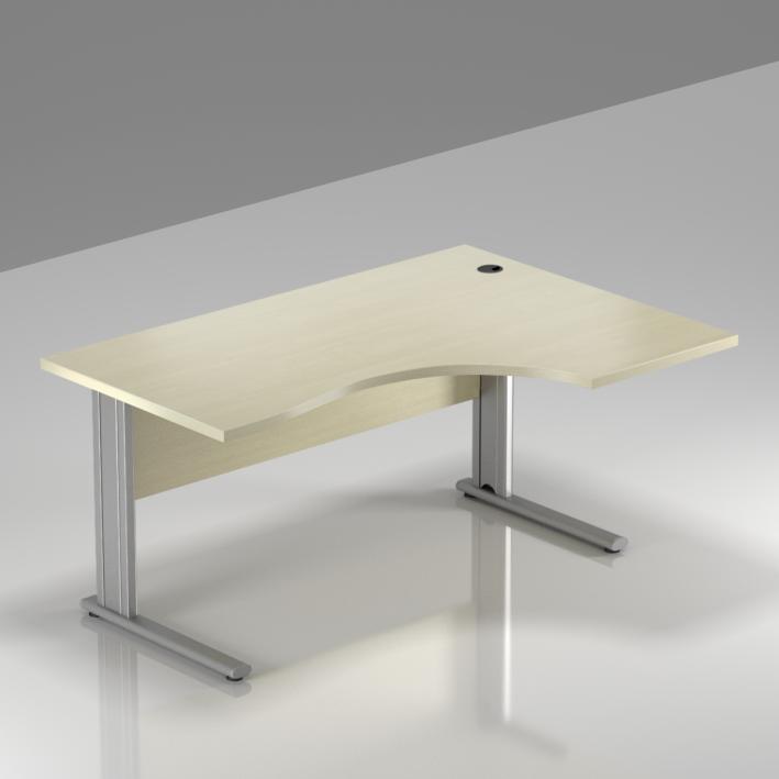 Kancelářský stůl rohový pravý Komfort, kovová podnož, 140x70/100x76 cm - BPR18 12