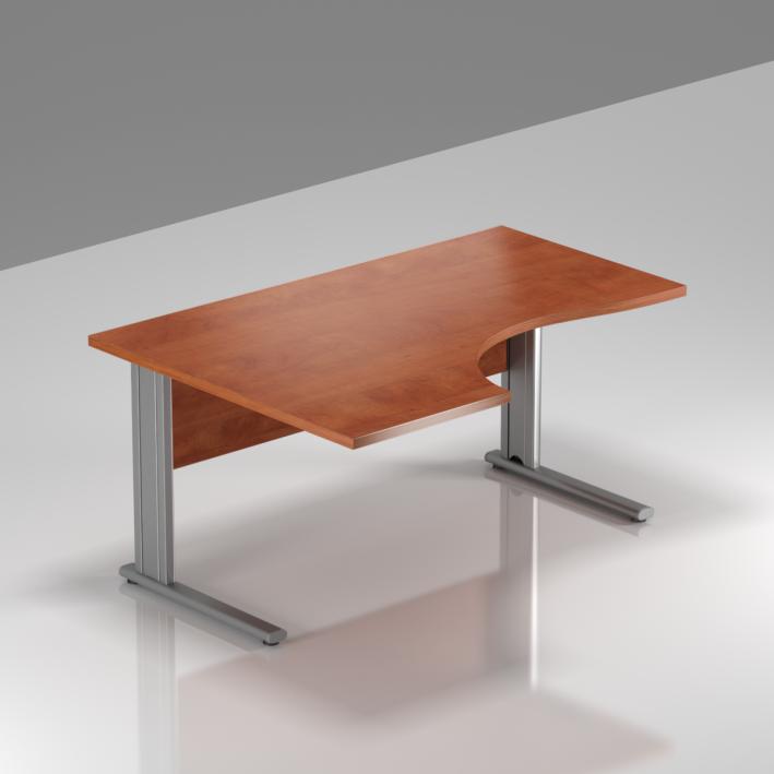 Kancelářský stůl rohový levý Komfort, kovová podnož, 140x70/100x76 cm - BPR19 03
