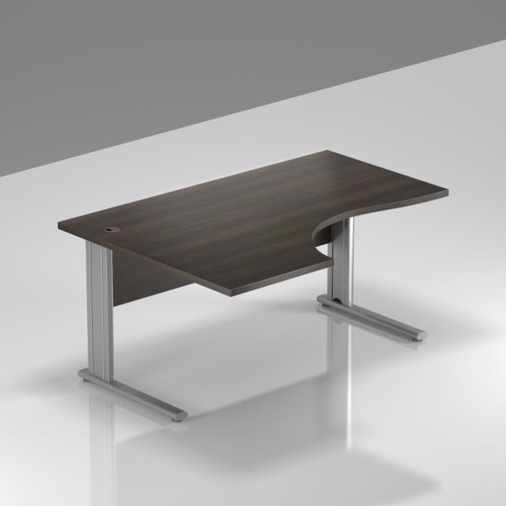 Kancelářský stůl rohový levý Komfort, kovová podnož, 140x70/100x76 cm - BPR19 07