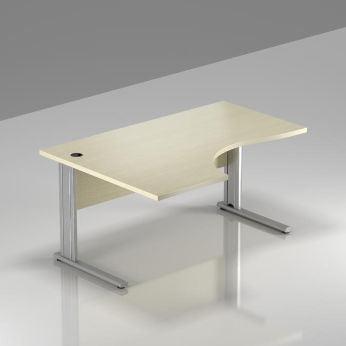 Kancelářský stůl rohový levý Komfort, kovová podnož, 140x70/100x76 cm - BPR19 12