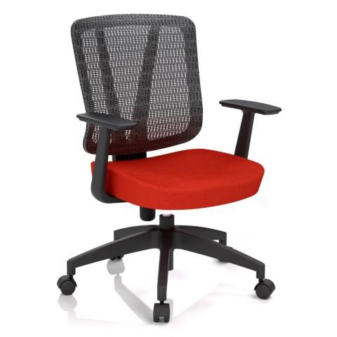 Kancelářská židle Casa, červená, opěra zad síťová černá - CASA NET B14