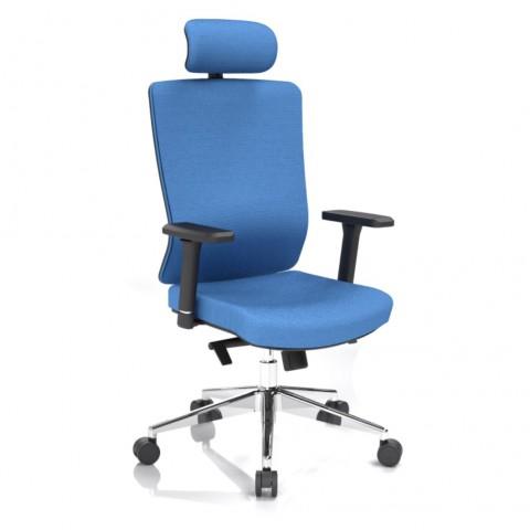 Kancelářská židle Vella, modrá s hlavovou opěrkou - VELLA AF B16