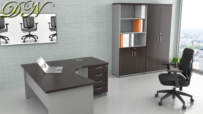 Sestava kancelářského nábytku Komfort 1.12, kaštan/šedá - ZE 1.12 07