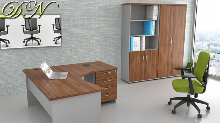 Sestava kancelářského nábytku Komfort 1.12, ořech/šedá - ZE 1.12 19